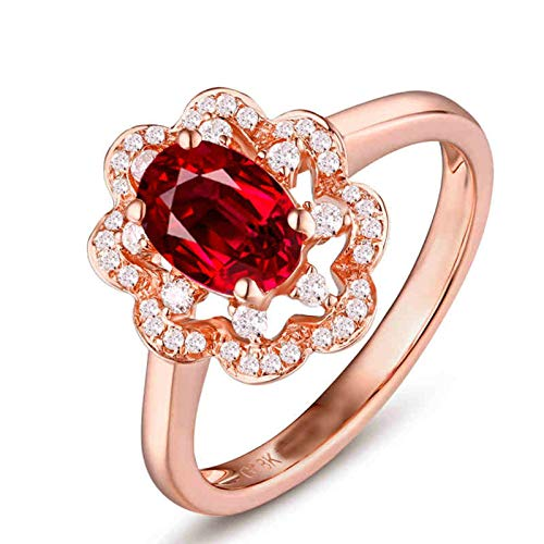 Aeici 18K Rose Gold Wedding Ring Sets for Women,Sunflower Shape with Ruby and Diamond Engagement Rings for Womens Size J 1/2 Rose Gold