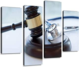 Gavel and stethoscope medical jurisprudence legal definition of Canvas Print Artwork Wall Art Pictures Framed Digital Prin...