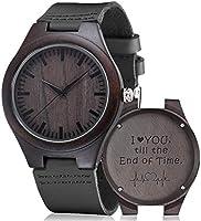 Reloj de madera grabada, Shimenmei S5520 reloj de madera personalizado regalos reloj personalizado para hombres mujeres...