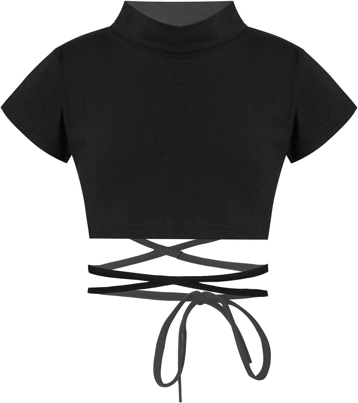 Hansber Kids Girls Mock Neck Crop Top Wrap Waist Sport Dance Tops Athletic Yoga T-Shirts Activewear Dancewear