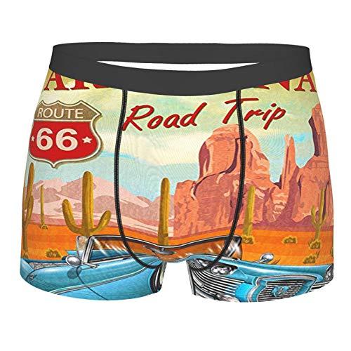 Route 66 Vintage Arizona Road Trip Cactus Calzoncillos bóxer para hombre con estampado en 3D, calzoncillos tipo bóxer para hombre y niño