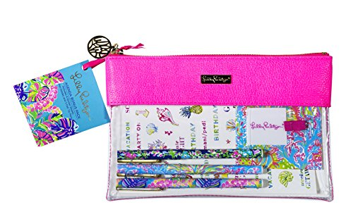 Lilly Pulitzer Exotic Garden Neon Pink Writing Pen and Pencil Kit (162719)