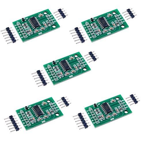 HX711 Wägezelle Verstärker Breakout Gewichtssensoren Anzeige-Modul Analog zu Digital-Konverter, für Arduino Raspberry Pi Mikrocontroller, 5 Stück