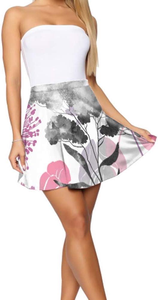 Flared Skirts Beautiful Garden Floral Dandelion Women Flared Skirt Women's Basic Casual Girls Flared Skirt S-XL