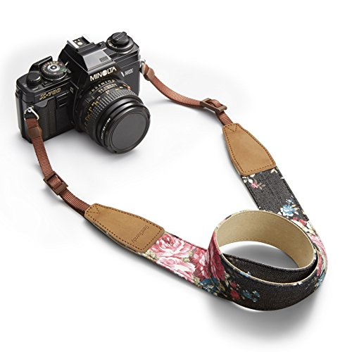 BestTrendy ユニバーサルカメラストラップ 一眼レフ/デジタル一眼レフ用 ニコン/キヤノン対応 花 紺色 (黒い)