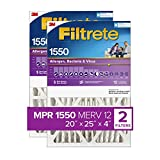 Filtrete 20x25x4, AC Furnace Air Filter, MPR 1550 DP, Healthy Living Ultra Allergen Deep Pleat, 2-Pack (exact dimensions 19.88 x 24.63 x 4.2)