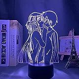 3D Illusion Lamp Anime Sword Art Online Manga,3D LED Luz Nocturna para Niños, 7 Colores Cambian con Control Remoto, Regalos para Niños Niñas