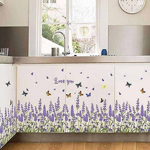 Púrpura Lavanda Flores Mariposa Zócalo Pegatinas De Pared Suelo Línea Angular Zócalo Cocina Balcón Decoración 70X50Cm