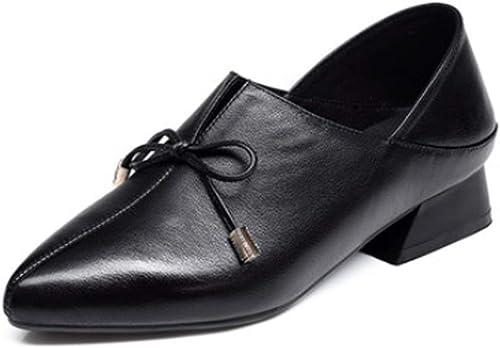 AJUNR Femmes Loisirs Les Femmes Au Printemps Nouveau Style Cuir 3.5Cm Faible Talon Version Coréenne Baitie Loisirs Petites Chaussures en Cuir