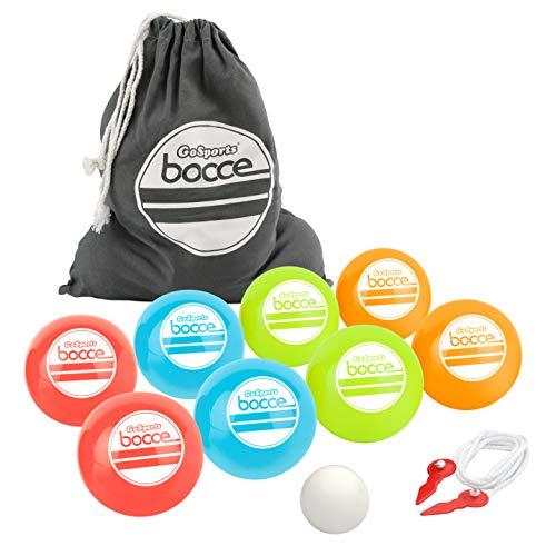 GoSports 90mm Backyard Bocce Set with 8 Balls, Pallino, Case and Measuring Rope