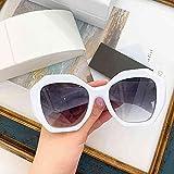 QSMIANA Gafas de Sol Gafas De Sol Polígono Agua Castauría Personalidad Marca Negro Sombras Retro Rectangular Gafas De Sol Roras Negras-White