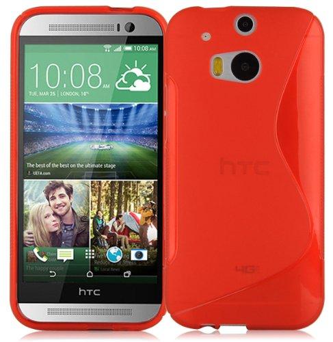 Preisvergleich Produktbild Cadorabo Hülle für HTC ONE M8 (2.Gen.) in Inferno ROT Handyhülle aus flexiblem TPU Silikon Silikonhülle Schutzhülle Ultra Slim Soft Back Cover Case Bumper