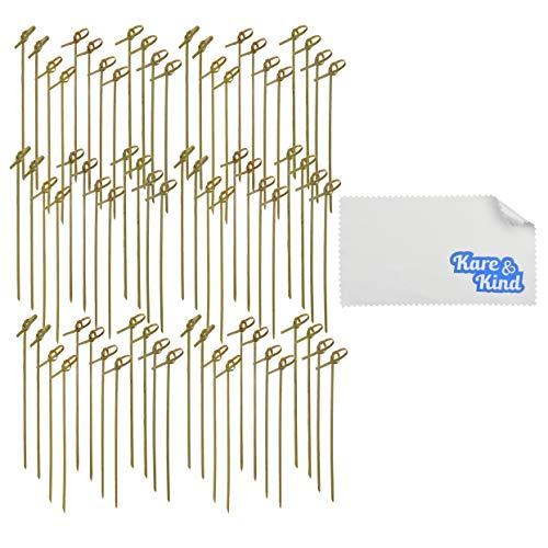 200 Varillas de Cóctel Hechas de Bambú Kare & Kind - Pinchos Anudados de 15 centímetros – Cocteles, Aperitivos, Barbacoa, Brochetas de Carne, Frutas y Vegetales