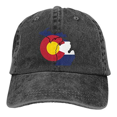 PhqonGoodThing Michigan Funny Pride Flag Baseball Cap Unisex Distressed Hats Adjustable Plain Cap
