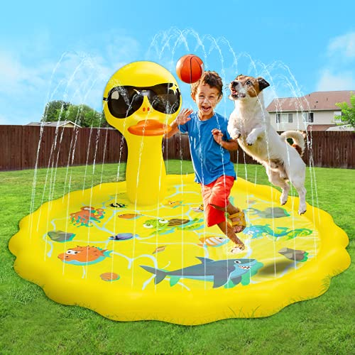 ROYPOUTA Splash Pads for Toddlers, Water Sprinkler for Kids Outdoor Play, Outside Water Toys Gifts for Yard-Yellow Duck