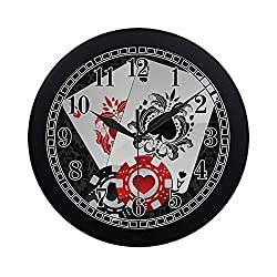 INTERESTPRINT Aces Playing Poker Cards and Casino Poker Chips on Black Damask Round Quartz Wall Clock Large Number Clock for Office School Kitchen Bedroom Living Room Decor, Black