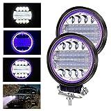 YnGia 2 luces LED de trabajo con ojo de ángel azul, 72W foco de luz antiniebla, luces combinadas de inundación, 12V 24V, faros LED para camión, tractor, coche, todoterreno, 4x4, ATV, UTV, SUV, barco