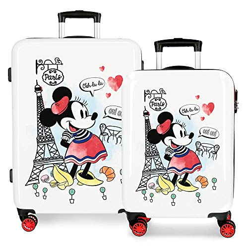Kofferset 55-68 cm Minnie Around The World Paris Rot