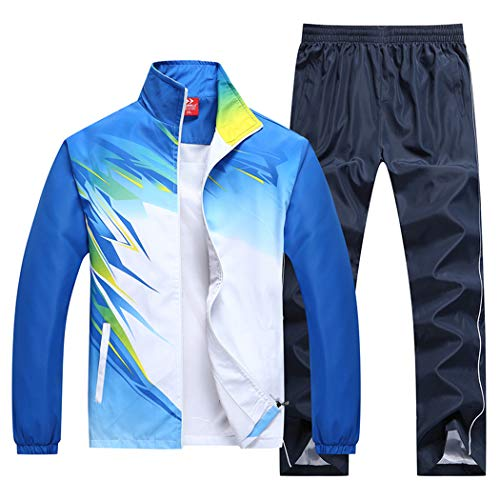 November's Chopin Men's Sportwear Active Athletes Nylon Tracksuits Jogging Sweat Suit Blue
