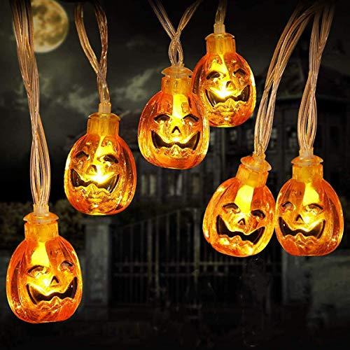 Halloween Deko LED Kürbis Lichterkette Batterie Betrieben 3 Meter 20 Lampe mit Dauerlicht/Blinkend Beleuchtung für Halloween Dekoration Party, Allerheiligen, Garten, Außen & Innen (Warmweiß)