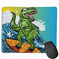 恐竜サーファー マウスパッド ゲーミング オフィス最適 防水 耐久性が良い 滑り止めゴム底 マウスの精密度を上がる 25x30cm