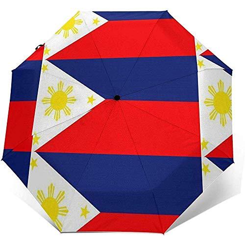 Bandera de la isla de Filipinas, pegatina rectangular, paraguas de viaje, paraguas de sol, protector solar ligero a prueba de viento, botón de apertura y cierre automático