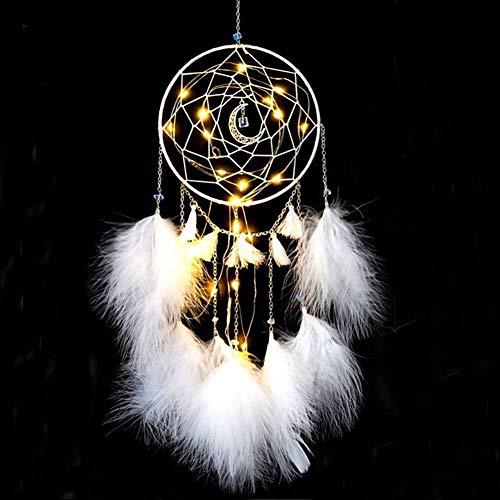 Amorlla Traumfänger mit LED Licht, Handgemachte Dreamcatcher mit Federn, Maiden Zimmer Schlafzimmer Romantische Dekoration, für Wandbehang Wohnkultur Ornamente Handwerk (Weiß)