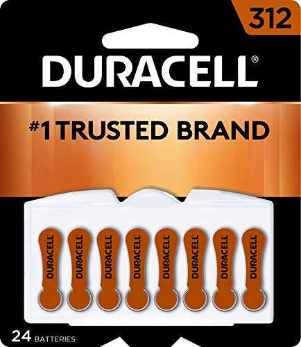 Duracell - Hearing Aid Batteries Size 312 (brown) - long lasting battery with EasyTab for ease of installation, 8 Count (Pack of 3)