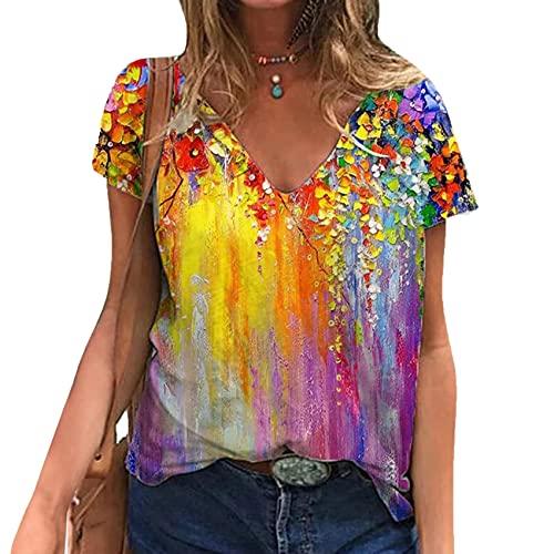 WZXHNYYZYQ Summer Women's Printed T-Shirt Temperament Short-Sleeved V-Neck Loose Tops Yellow