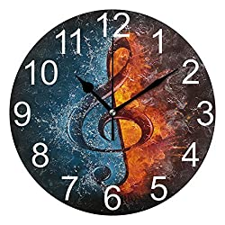 Wamika Treble Clef Water Musical Notes Round Wall Clock Battery Operated Non Ticking Silent Clock Acrylic Quartz Decorative Clocks for Home School Office