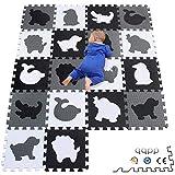 qqpp EVA Puzzle Tapis Mousse Bebe - Idéal pour Les Tapis De Jeux Enfant, 18 Dalles(30*30*1cm), Animaux, Blanc, Noir,...