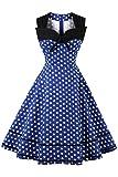 MisShow Robe Femme Eté Vintage Rockabilly Pin up Stretch années 20s 70s à Pois Décontractée Robe de Gala Vintage Elégante Swing en Coton Bleu 2XL