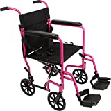"ProBasics - KTA1916SA-PK Aluminum Transport Wheelchair - 19"" Wheel Chair Transport Chair - Pink"