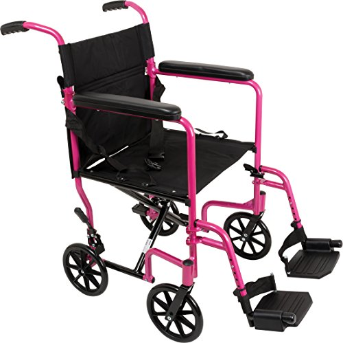 "ProBasics - KTA1916SA-PK Aluminum Transport Wheelchair - 19"" Wheel Chair Transport Chair - Pink"