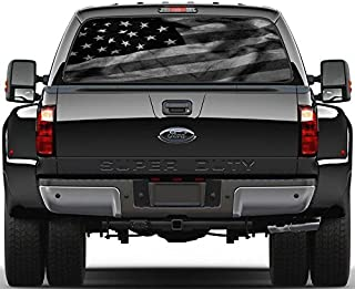 Black & White American Flag Rear Window Decal Sticker Car Truck SUV Van 778, Large