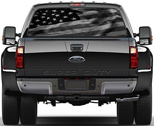 Black & White American Flag Rear Window Decal Sticker Car Truck SUV Van 778, Large