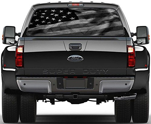 Black & White American Flag Rear Window Decal Sticker Car Truck SUV Van 778,...