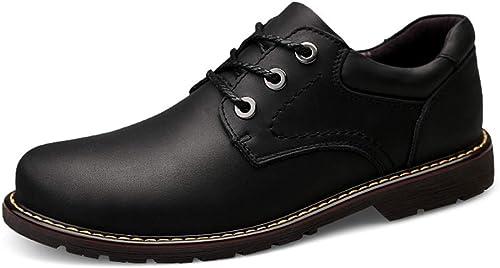 YAJIE-bottes, Bottines pour Hommes, Décontracté Simple Classic Faible-Top Outdoor Outsole Martin bottes (Couleur   Noir, Taille   46 EU)