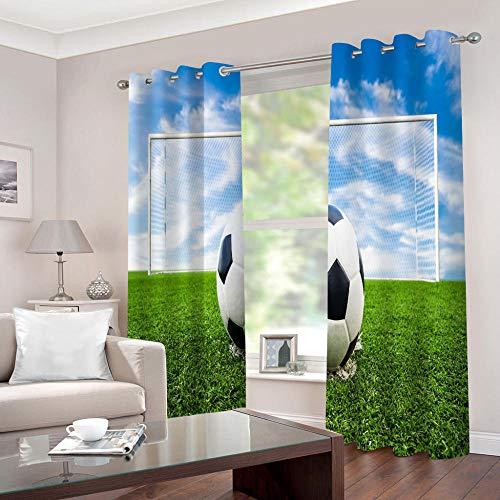 WAFJJ Art CortinaVerde y fútbol Cortina y Cenefa, Tapiz de Dormitorio, Cortina India para balcón, decoración de habitación Tamaño:2x140x245cm(An x Al)