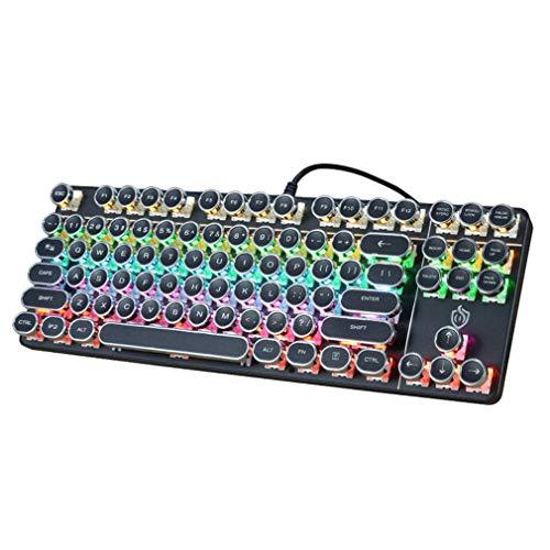 ゲーミングキーボード PC、ノートPC、デスクトップPC、パソコン、ノートPC用のキーボード 有線です Dell、Acer、HP、Samsungなどに対応したUSBキーボード、87キー青軸 (Black)