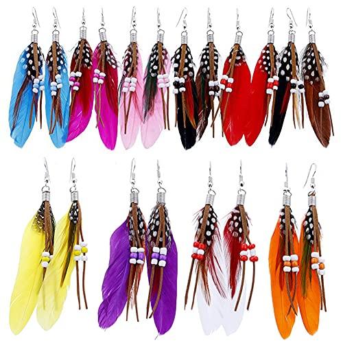 10 pares de pendientes de plumas bohemias para mujer, pendientes largos de plumas de imitación de borla con borla