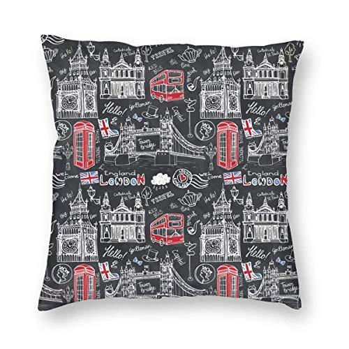 London Landmark Decorative Throw Pillow Covers British Landscape Cotton Linen Cushion Cover Square Pillow Cases For Car Sofa Home Decor 45X45 cm