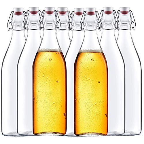 Encheng 32 oz Clear Glass Bottles with Air Tight Lids,Easy Cap Bottles for Beer and Home Brewing,Glass Kombucha Bottles with Stoppers,Swing Top Bottles for Beverages 8 Pack …