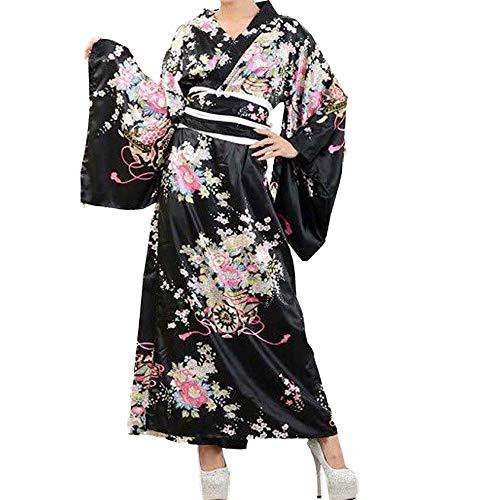 Kimono traje de baño japonés tradicional Yukata Cosplay mujer sexy Sakura patrón, Kimono largo negro, L