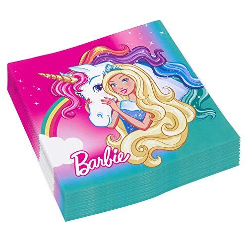 Amscan Luncheon Paper Napkins 33cm-20 Pcs Tovagliolo 33 X 33 Cm Barbie Dreamtopia, Multicolore, Taglia unica, 7AM9902525