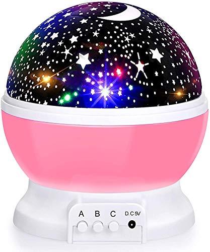 Proyector de cielo estrellado para bebés, luz nocturna giratoria, lámpara de proyección romántica LED perfecta para (color rosa)