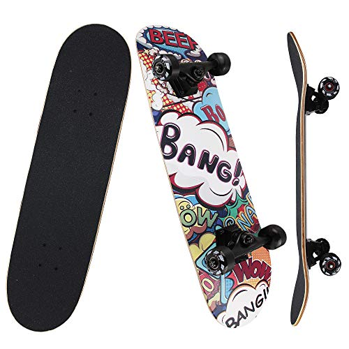 NPET Pro Skateboard Complete 31 Inch 7 Layer Canadian Maple Double Kick...