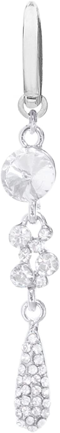 playful piercings NEW STYLE Fake Belly Navel Non Clip on Clear cz Unique Lg Gem multi Gems paved Tear droplet Dangle Ring
