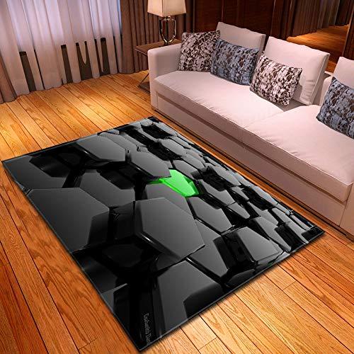 Alfombra Para Salón,Bloque De Color Negro Verde 3D Impreso Grandes Alfombras, Creatividad Patrón Geométrico Suelo Rectangular Non-Slip Alfombrillas, Alfombras De Decoración De Casa Niños Sala Ju