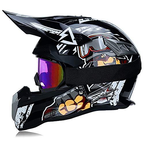 Fengcheng Motocross-Helm, Profi-Set, Motorradhelm für Erwachsene, Off-Road Cross Road Race Straßenhelm, Unisex, Integral Y inkl. Brillen/Handschuhe (Dog, XL)